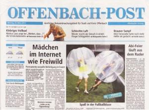 Titelseite der Offenbach Post vom 25.März 2013